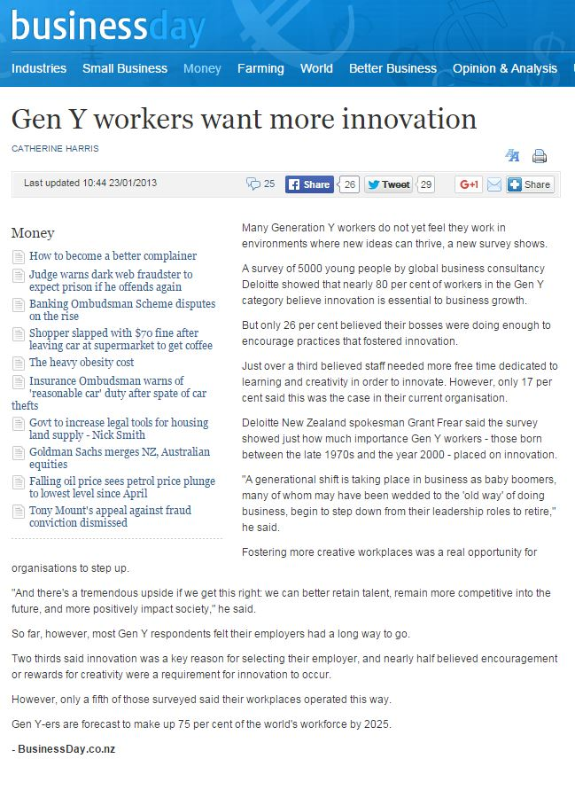 Gen Ys want more innovation