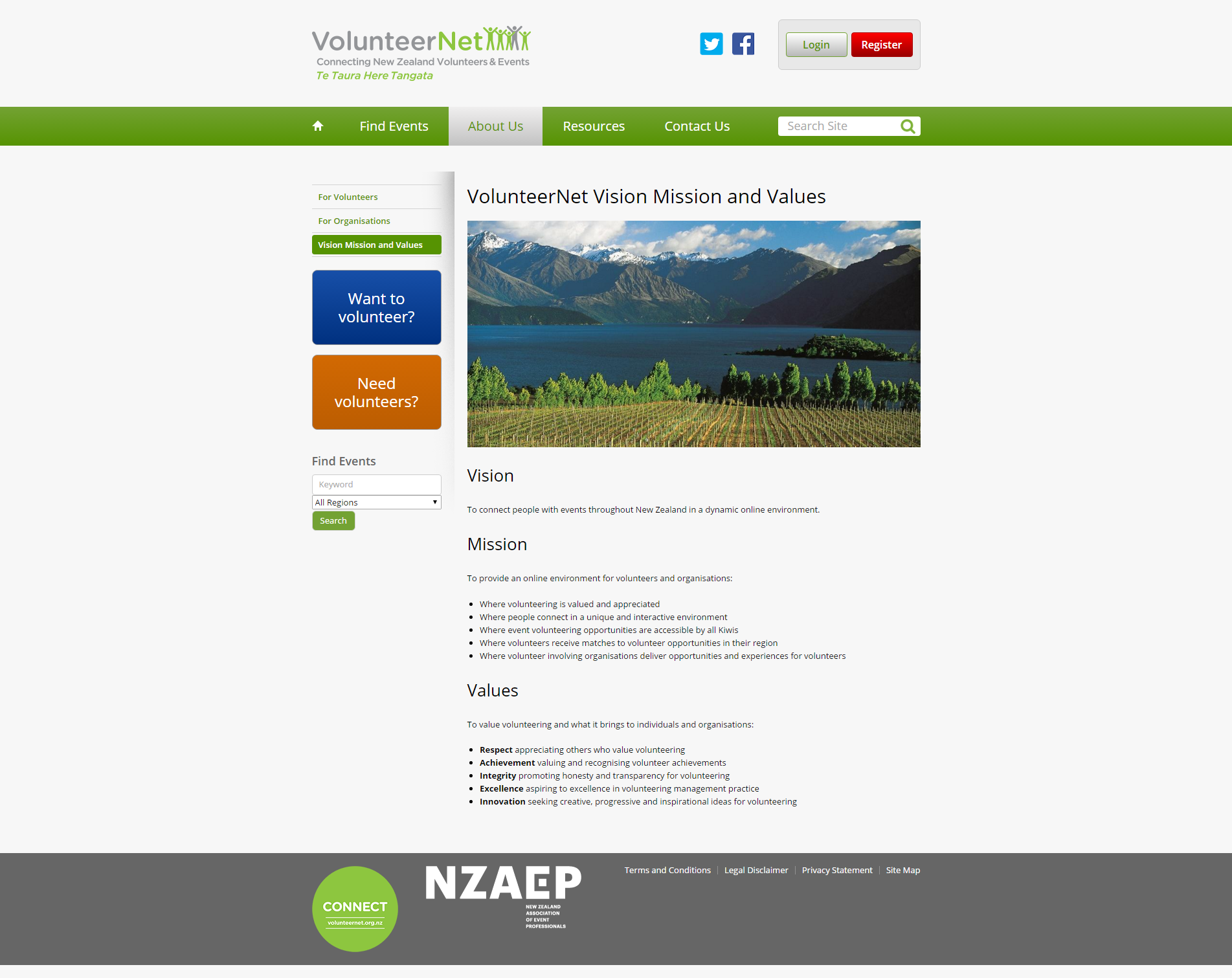 VolunteerNet Vision Mission and Values _